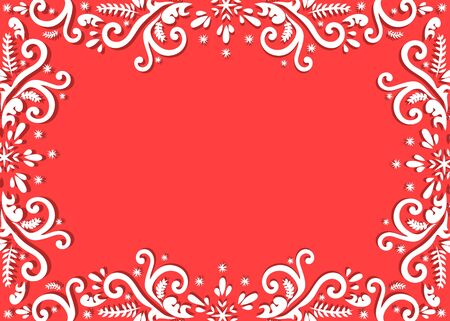 Christmas winter pattern drawn on red background. Use for postcards, greetings, book design, advertising. Vector isolated.  Beautiful winter frame. Illusztráció