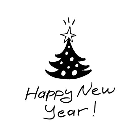 New year illustration with felt-tip pen with text Happy New Year! Lettering, sketch and children is drawing.