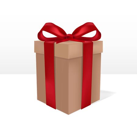 Box tied with red ribbon. Isolated gift box template. Vector Illustratie