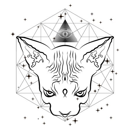 Modern trend, esotericism, mysticism, occultism. Vector illustration expressing an altered state of consciousness.
