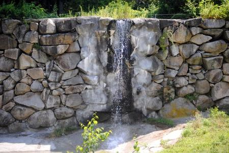 Rock wall waterfall