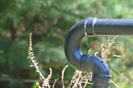 Black drainage pipe Stock Photo