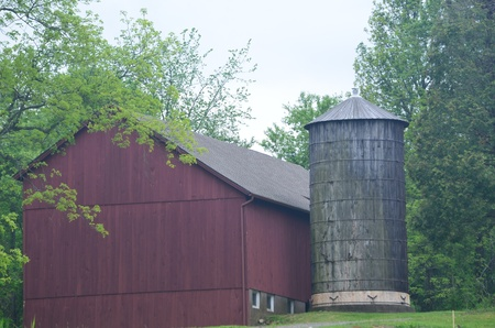 Barn with silo Stock Photo