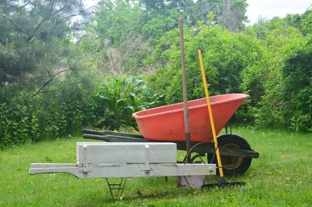 Wheelbarrows and tools