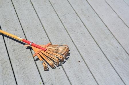 Leaf rake on a deck
