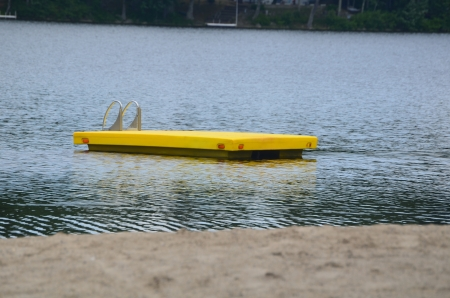 Raft on a lake