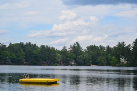 A raft in a lake