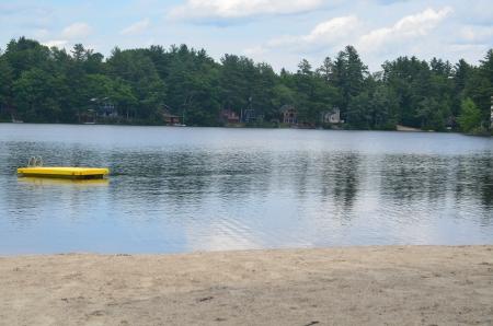 Yellow raft in lake