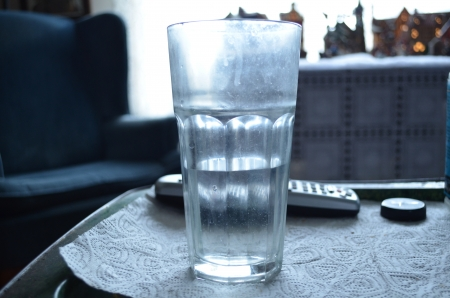 remotes: Half of a glass of water