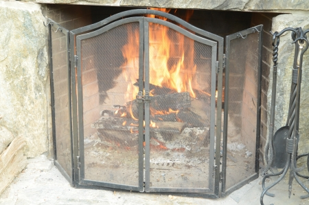 stone fireplace: A stone fireplace