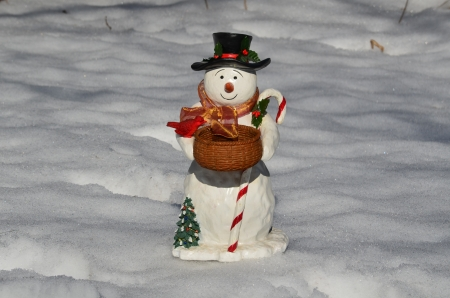 Snowman and candy cane