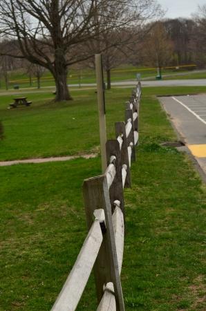 split rail: Wood split rail fence Stock Photo