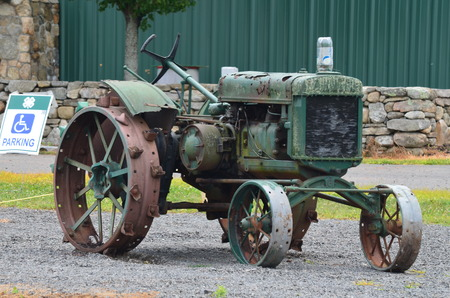 wheeled tractor: An antique iron wheeled tractor