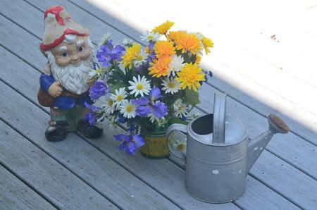 gnomos: Enano de jardín con flores y cubo de riego