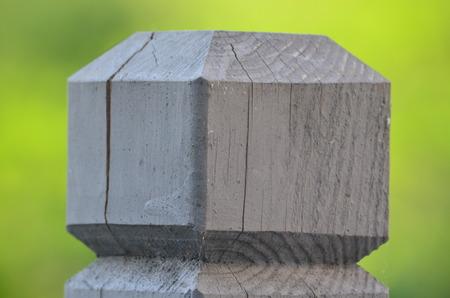 beveled: Beveled wooden deck post