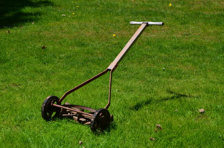 push: Antique reel type push mower Stock Photo