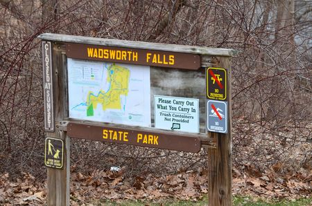 wooden trail sign: Sign in a state park marking trails Stock Photo