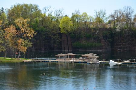 Gazebos in a waterpark
