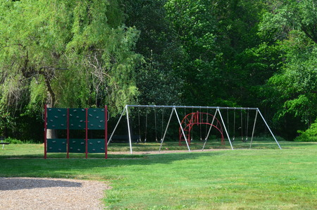 Town playground with swings
