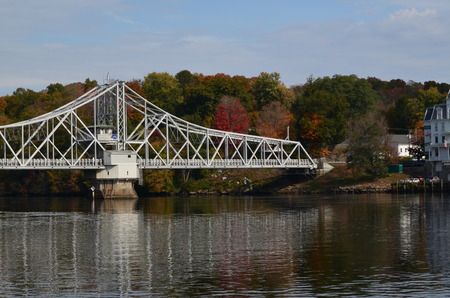 Iron swing bridge crossing the CT. river