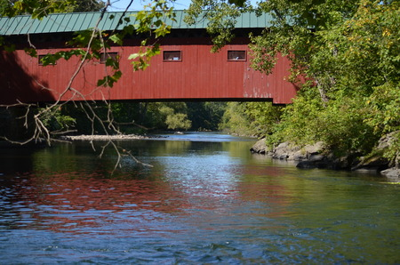 Red covered bridge in Vermont Stock Photo
