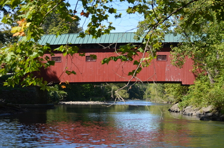 A red covered bridge in Vermont Stock Photo