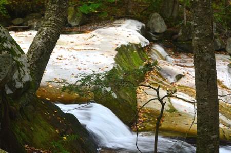 Waterfall over smooth rocks