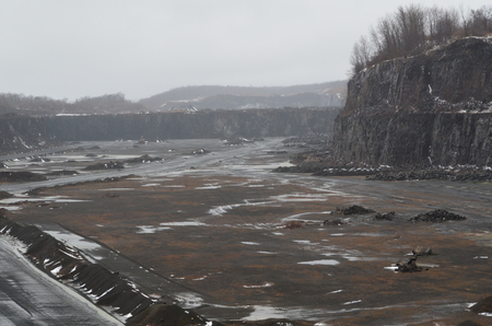 A road through a stone quarry Stock Photo