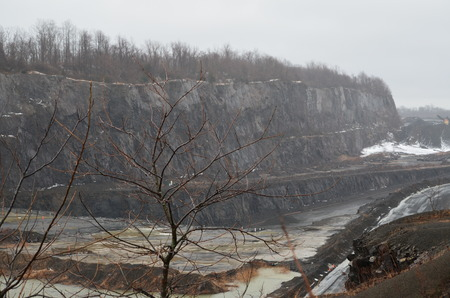 A stone quarry in the dead of winter