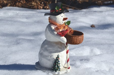 A snow man in the snow