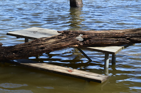 A picnic table in a flood zone Stock fotó