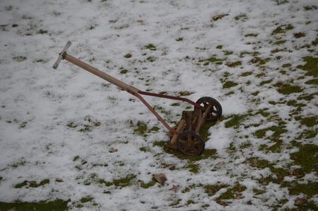A vintage reel type push mower