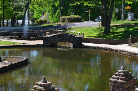 A landscape with a pond and a bridge
