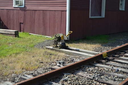 A railroad device for moving tracks Stock Photo