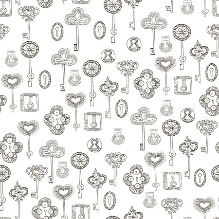 scrap booking: Seamless vector black and white pattern with keys and keyholes for wallpaper, wrapping paper, scrap booking