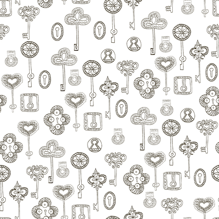 key hole: Seamless vector black and white pattern with keys and keyholes for wallpaper, wrapping paper, scrap booking