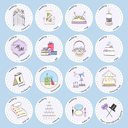 Vector set with wedding icons and elements. Used for wedding info graphics, websites, business presentations, wedding agency's plans.