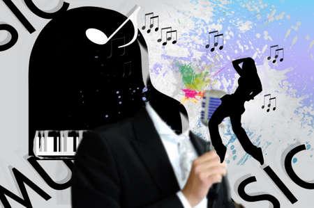 comunicación escrita: collage de la música Foto de archivo