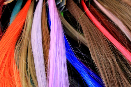 strands of colored hair