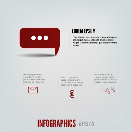 Red message infographic Stock Vector - 20908494