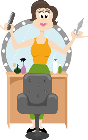 coiffeur: hairdresser at work holding sсissors and a hairbrush Illustration