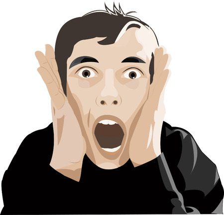 Man screaming of surprise or horror holding his hands at his face