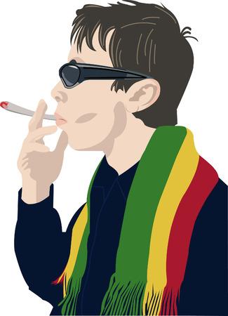 snuffelen: Man in zonne bril roken een с igarette met een diepe sniff Stock Illustratie