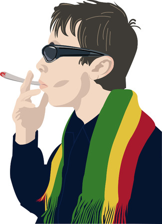 Man in sunglasses smoking a сigarette taking a deep sniff