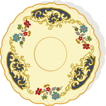 a plate with a handmade painting on it with  beautiful patterns