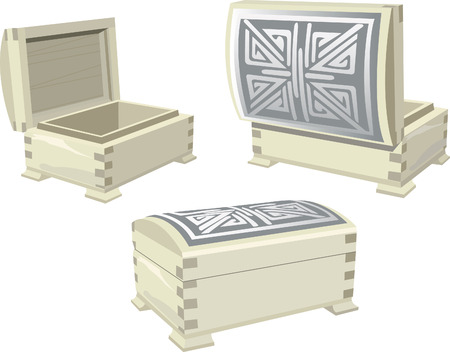 een stijlvolle houten juwelen doos met mooie ornamenten Stock Illustratie