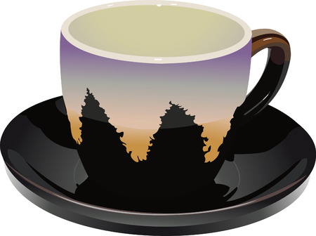 an empty cup and a saucer dropping shadows Stock Illustratie