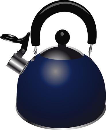een glanzende blauwe water koker met een fluitje