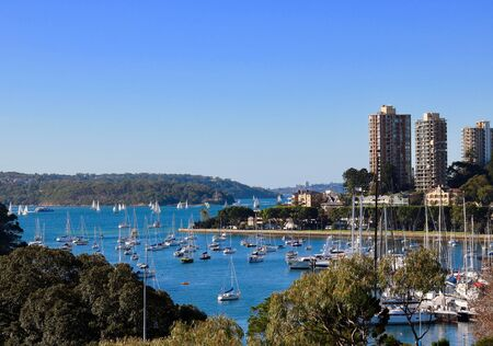 New South Wales - Rushcutters Bay Sydney on an autumn day with blue sky Stok Fotoğraf - 130104091