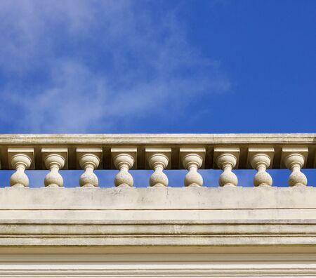 Copy space in sky above old balustrade